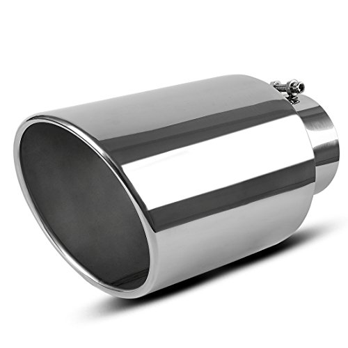 Shiny Chrome Tip - 5 Inch Inlet Chrome Exhaust tip, AUTOSAVER88 Universal Stainless Steel Diesel Exhaust Tailpipe Tip for Truck Cars, 5 x 8 x 15 Bolt/Clamp On Design.