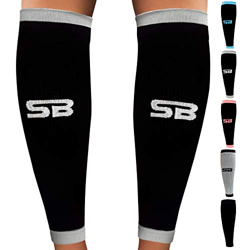 SB SOX Compression Calf Sleeves (20-30mmHg) for Men & Women - Perfect Option to Our Compression Socks - for Running, Shin Splint, Medical, Travel, Nursing, Cycling, and Leg Pain (Black/Gray, Large) ()