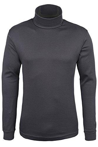 Neck Roll T-shirt (Mountain Warehouse Meribel Mens Cotton Roll Neck Top - Long Sleeves Turtle Top Dark Grey Medium)