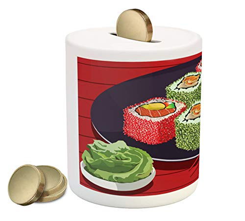 Ambesonne Wasabi Piggy Bank, Soy Sauce and Delicious Sushi Plate with Chopsticks Cartoon Composition, Printed Ceramic Coin Bank Money Box for Cash Saving, Vermilion Multicolor