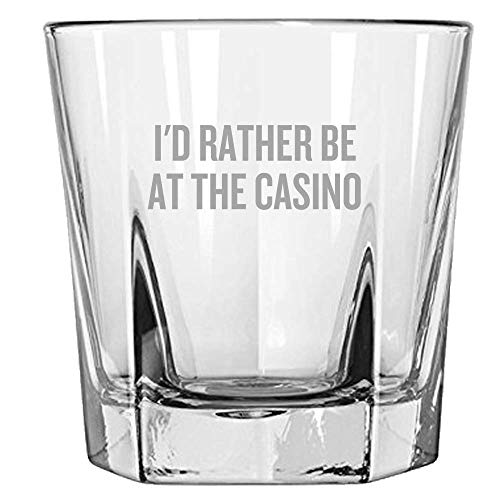 Gambling Rocks Glass - Funny Gambler Gift - Casino Lovers Gift - I'd Rather Be At The Casino - Whiskey Tumbler ()