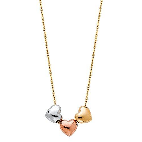 - 14k Tri Color Gold 3 Heart Necklace - 17+1