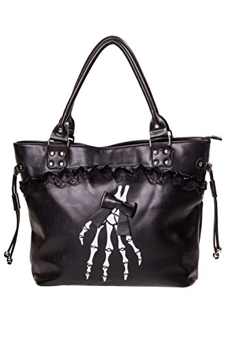 Lost Queen Gothic Lolita Skeleton Hands and Black Bow Lace Trim Handbag ()