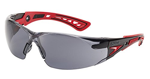 Bolle Safety Rush+ Safety Glasses, Black & Grey Frame, Smoke Lenses