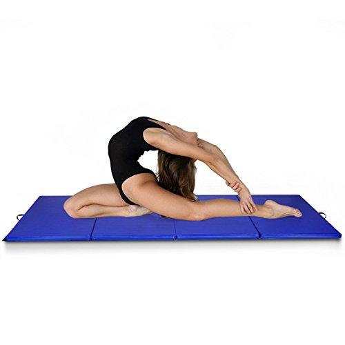 lunanice Blue Gymnastics Mat Gym Folding Exercise Mats Stretching Yoga Size 4'x10'x2