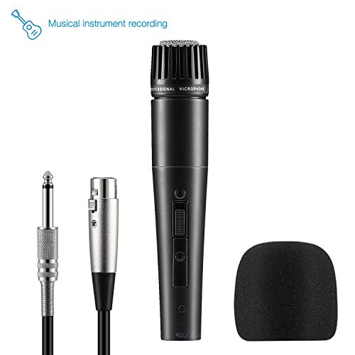 Moukey Instrument Vocal Microphone, Dynamic Cardioid Wired Mic, Metal Handheld, 16.4 ft XLR Cord for Guitar/Drum/Bass/Karaoke/Stage with ON/Off Switch (MWm-4)