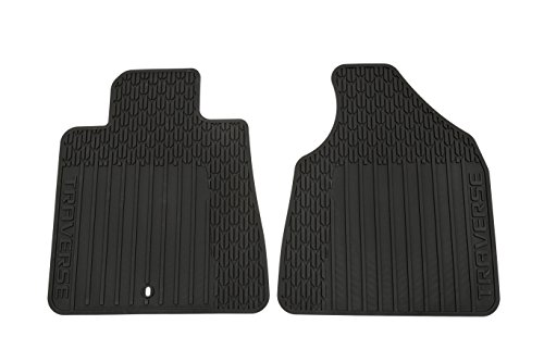 Mat Gm Front - GM Accessories 22890016 Front All-Weather Floor Mats in Ebony with Deep Rib and Traverse Logo