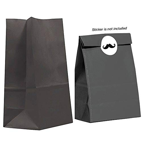 40CT Biodegradable, Food Safe Ink & Paper, Premium Quality Paper (Thicker), Paper Bag, Kraft Paper Sack, Goody Bags, Treat Sacks, Perfect for Party Filled with Small Favors (Medium, Black) -