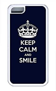 iPhone 5c case, Cute Keep Calm And Smile iPhone 5c Cover, iPhone 5c Cases, Soft Whtie iPhone 5c Covers
