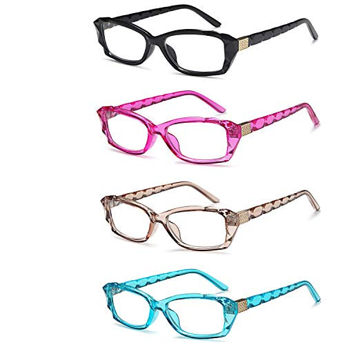 HUYAOPT Reading Glasses Colored Frame 4 Set Clear Readers Eyewear Crystal Design Computer Reader Glasses for Women Platic (1.50 X)