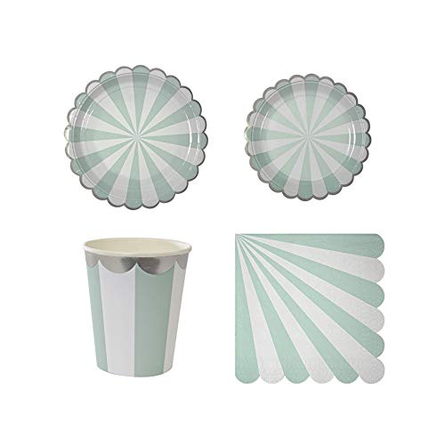 Gilding Disposable Tableware Set Pink Green Striped Paper Plates Cups Napkins Party Wedding Carnival Supplies,Mint Green,Set