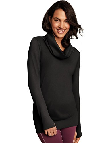 Maidenform Women's Seamless Sport Baselayer Thermal Cowl Neck Tunic, Black 2X Large