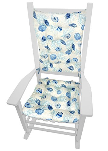Sea Rocking Chair - Barnett Products Rocking Chair Cushions - Shell Dance Blue - Size Extra-Large - Latex Foam Fill, Reversible, Machine Washable (Seashells & Coral)