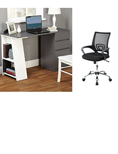 Simple Living Como Modern Writing Desk White/Gray With Mesh Office Chair by Simple Living Products