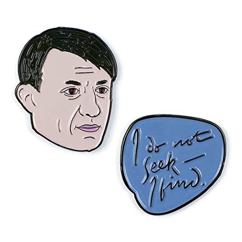The Unemployed Philosophers Guild Picasso and Quote Enamel Pin Set - 2 Unique Colored Metal Lapel Pins