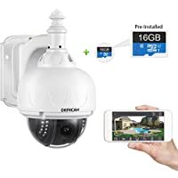 Dericam WiFi Outdoor Camera, WiFi PTZ Camera, 4x Optical Zoom, Auto-focus, 1.3 Megapixel, Pre-installed 16GB Memory Card, S1-16G White