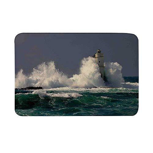 (Lighthouse Decor Non Slip Door Mat,Lighthouse in Sardinia Italy Splashing Surfing Travel Locations Landmark Panorama Floor Mat for Bathroom Living Room,23