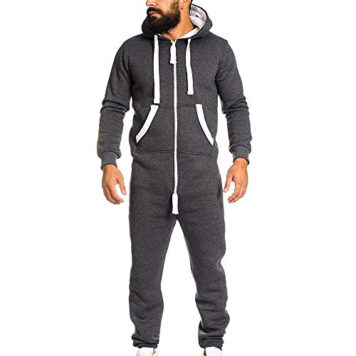 YOcheerful Men's Jumpsuit Playsuit Sportswear One Zip Onesie Hoodie Solid Sports Jumpsuit Playsuit Romper (Dark Gray,US-XL/label-2XL)