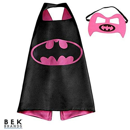 Bek Brands DC Comics Batgirl Superhero Cape and Mask Set | Dress up Satin Cape and Felt Mask, Costume for Kids Party ()