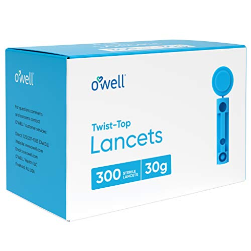 O'Well Twist Top Lancets 30 Gauge, 300 Count | Thin Needle Lancets for Blood Glucose & Keto Testing | Box of 300 Sterile…