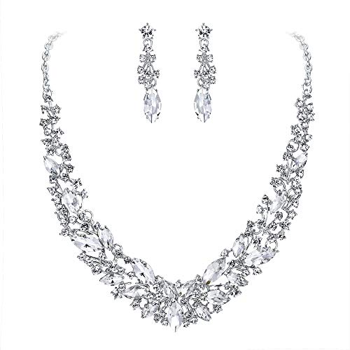 BriLove Wedding Bridal Necklace Earrings Jewelry Set for Women Austrian Crystal Marquise Cluster Collar Necklace Dangle Earrings Set Clear Silver-Tone