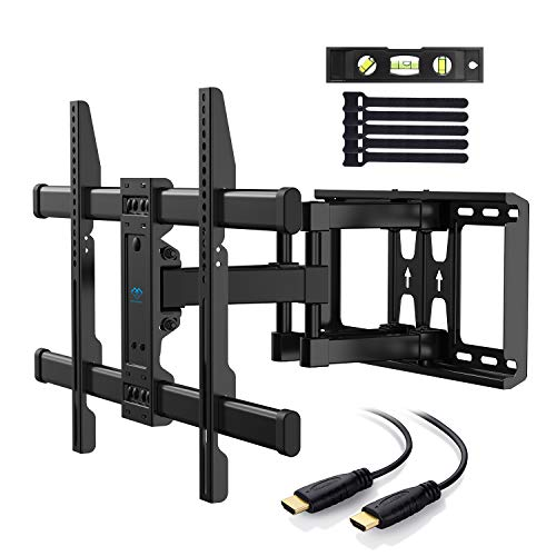 PERLESMITH TV Wall Mount Bracket Full Motion Dual Articulating Arm for Most 37-70 Inch LED, LCD, OLED, Flat Screen, Plasma TVs up to 132lbs VESA 600×400 with Tilt, Swivel and Rotation - PSLFK1 (Black Tv Mount Wall Supports)