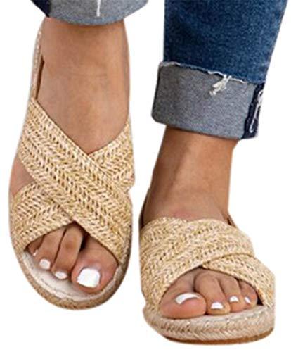 Women Flat Sandals Shoes Summer Straw Hemp Elastic Band Casual Shoes Beach Sandals by Gyouanime Khaki