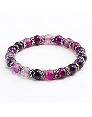 WZMFBH Charm Purple Crystal Stone Pulseras Femeninas Oro/Plata Rhinestone Pulsera Cuentas Redondas Brazalete Accesorios De Joyería Vintage Regalo