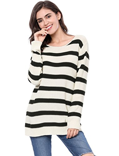 Allegra K Women's Round Neck Drop Shoulder Tunic Striped Sweater White M (US 10)