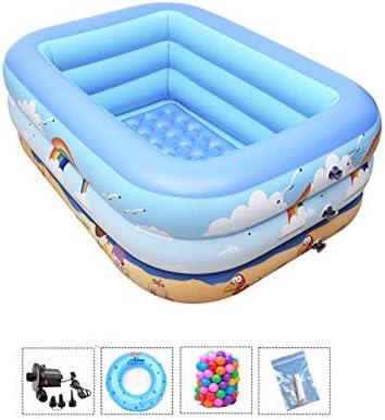 ZDYG Piscina Inflable para niños, bañera Inflable, Parte Inferior de la Burbuja, Bomba eléctrica, Anillo de natación, Bola Marina, para niños/bebés/familias-150x105x55cm: Amazon.es: Hogar
