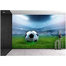 wall26 - Close Up of a Football Ball on a Full Stadium - Removable Wall Mural | Self-adhesive Large Wallpaper - 66x96 inches