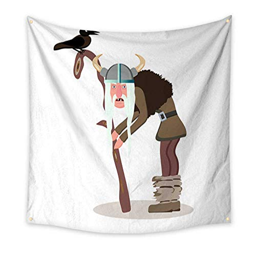 Anniutwo Tapestry Art Viking Cartoon Character The Old Gray haired Man Leaning on his Staff Witch Black Raven Vector Illustration Flat Style Blanket Home Room Wall Decor 47W x 47L Inch ()