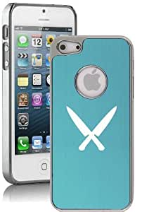 Apple iPhone 5c Aluminum Plated Chrome Hard Back Case Cover Chef Knives (Light Blue)