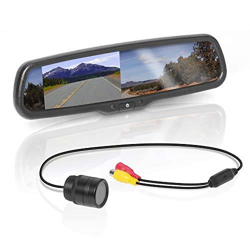 (BOSS Audio BV430RVM Rearview Car Mirror with 4.3 Inch Built in High Resolution Digital Monitor – Includes Weatherproof Rearview Backup Camera and Brackets)