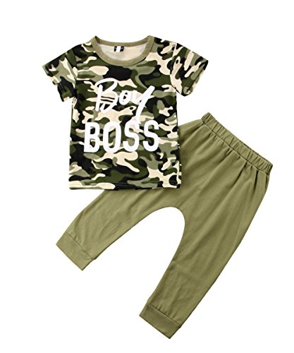Stylish Toddler Kids Boy Girl Boss Tops Camouflage T-Shirt Pants Outfits Set Clothes (4-5 Years, Boy Boss)