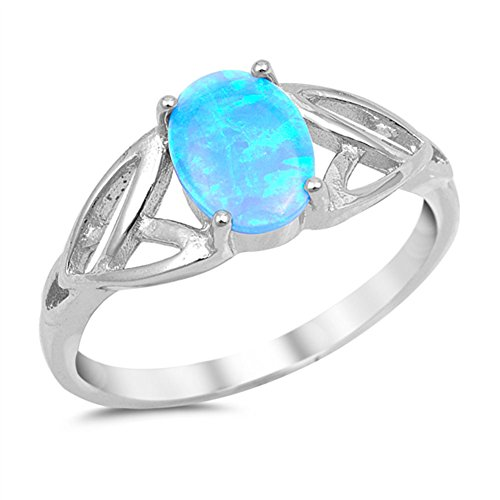 Blue Simulated Opal Oval Celtic Trinity Ring New .925 Sterling Silver Band Size 4