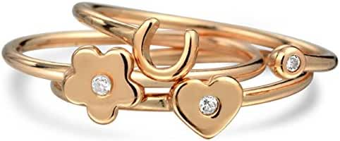 Bling Jewelry CZ Heart Flower Horseshoe Midi Rings Rose Gold Plated Silver
