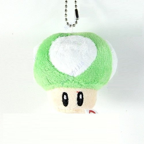 Super Mario Bros Mushroom Keychain Decoration Pendant Green Soft Stuffed Plush Toy Doll Kids Gift by handstiched
