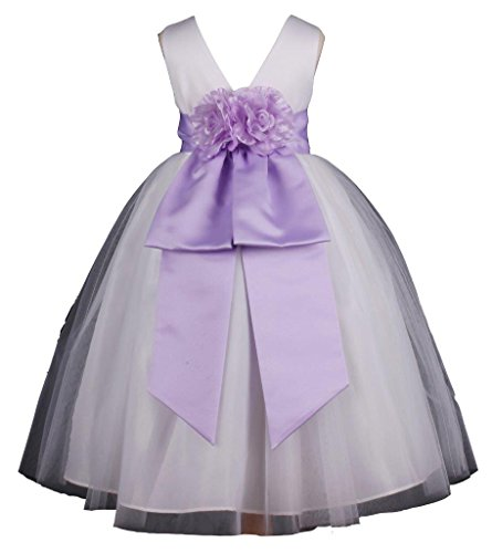 Prince Lover Girls' Wedding Pageant Flower Tulle Dress 12 White/Lilac ()