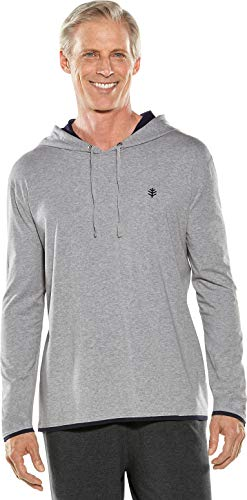 - Coolibar UPF 50+ Men's Oasis Pullover Hoodie - Sun Protective (Medium- Grey Heather)