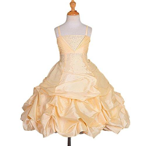 Dressy Daisy Girls' Rhinestone Taffeta Pick Up Dresses Wedding Flower Girl Pageant Dress Size 7-8 Champagne - Puffy Yellow Dress