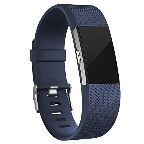 iGK Replacement Bands Compatible For Fitbit Charge 2, Adjustable Replacement Bands with Metal Clasp Classic Edition Navy Small