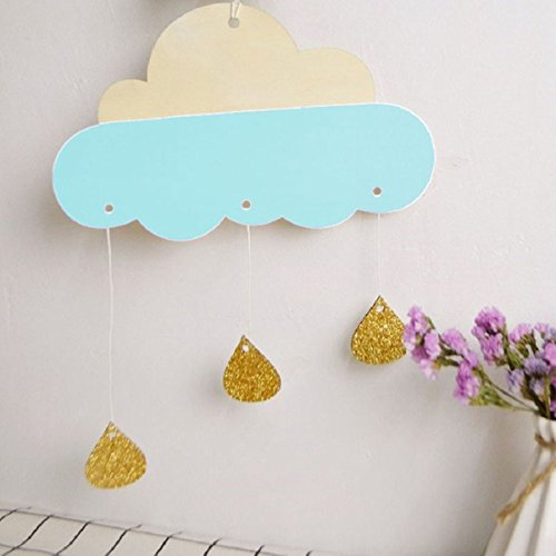 MONOMONO-Cloud Raindrop Wall Hanging Stickers Art Kids Room Nursery Decor Removable (blue)