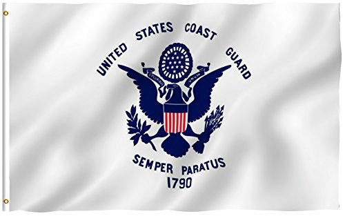 ANLEY [Fly Breeze] 3x5 Foot United States Coast Guard Flag - Vivid Color and UV Fade Resistant - Canvas Header and Double Stitched - Semper Paratus Flags Polyester with Brass Grommets