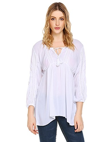 Neck Peasant Blouse (Zeagoo Women's Long Sleeve Casual Tunic Blouse Boho Loose Shirt Tops White M)