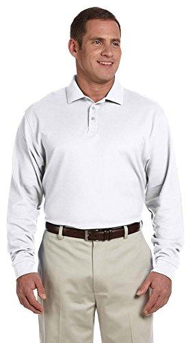 Devon & Jones Men's Pima Piqué Long-Sleeve Polo, Large, WHITE - Ladies Pima Pique Sport Shirt