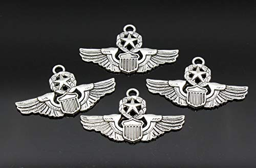 Great Selection 3 Pcs Air Force Charms Pilot Wings Charms Antique Silver Tone 28x47mm - YD0129 Build Your Designs
