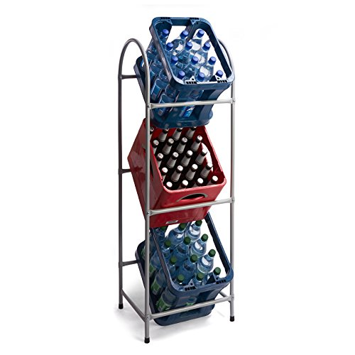 Kastenständer für 3 Kisten Getränkekistenregal aus Metall in Silber