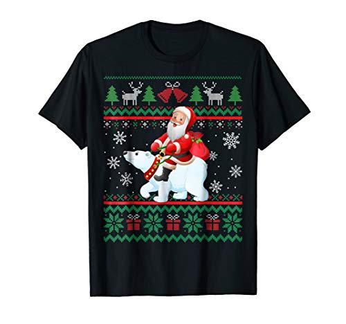 Bear Riding Polar (Santa Claus riding polar bear Shirt Funny Christmas T-shirt)