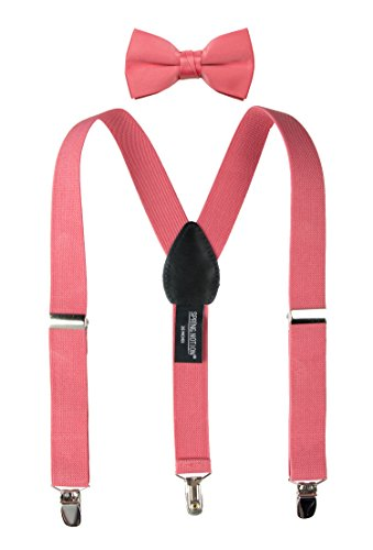Spring Notion Boys' Suspenders and Solid Color Bowtie Set Coral Large